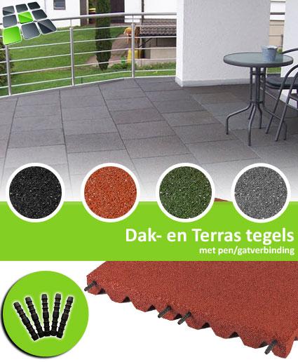 Rubberen Dak- en Terrastegels met pen/gatverbinding 50x50 cm Hoek van RubbertegelDirect.nl
