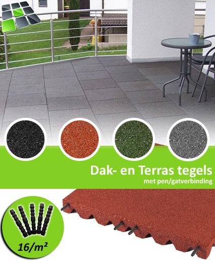 Rubberen Dak- en Terrastegels met pen/gatverbinding 50x50x3,0 cm van RubbertegelDirect.nl