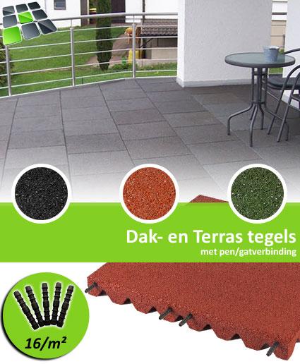 Rubberen Dak- en Terrastegels met pen/gatverbinding 50x50x4,0 cm van RubbertegelDirect.nl