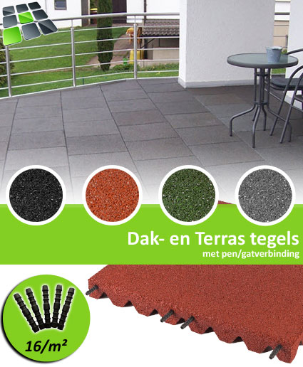 Rubberen Dak-en Terrastegels met pen/gatverbinding van RubbertegelDirect.nl