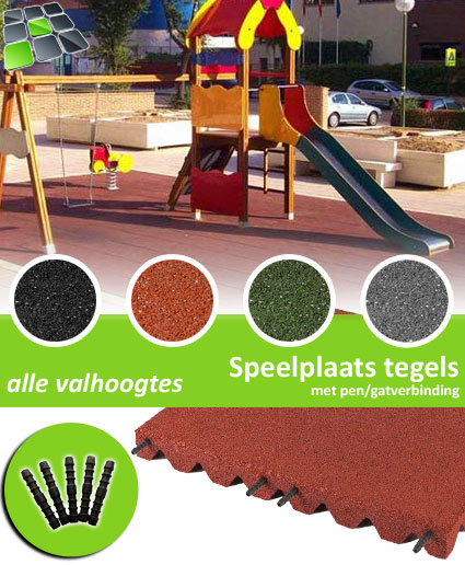 Rubberen Speelplaatstegels met pen/gatverbinding 50x50 Hoek van RubbertegelDirect.nl