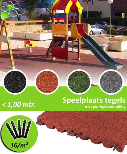 Rubberen Speelplaatstegels met pen/gatverbinding 50x50x3,0 cm van RubbertegelDirect.nl