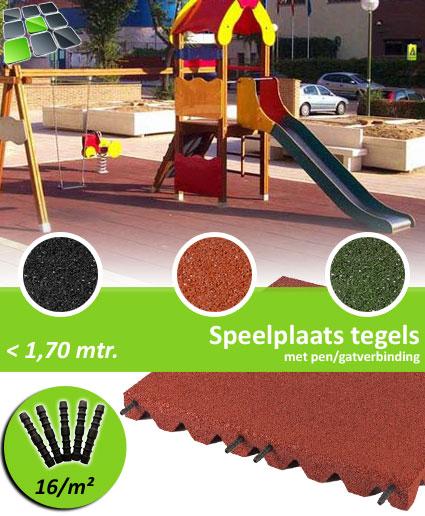 Rubberen Speelplaatstegels met pen/gatverbinding 50x50x5,0 cm van RubbertegelDirect.nl